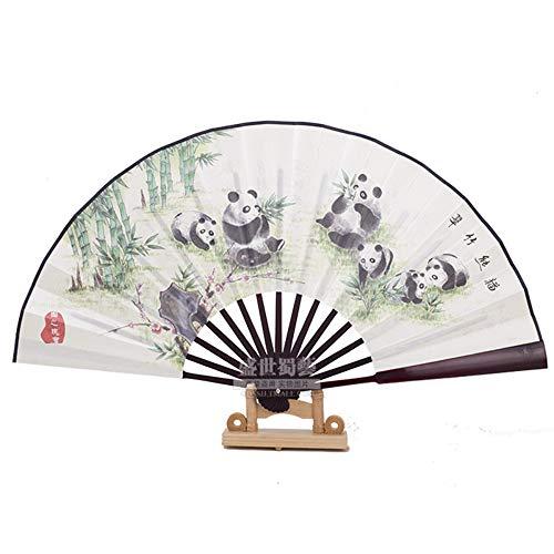 XIAOHAIZI Handfächer,Sommer Bambus Fan Grüner Bambus Panda Retro Chinesischen Stil Männer Geschenk Faltfächer Für Zu Hause - Pfau Kostüm Männer