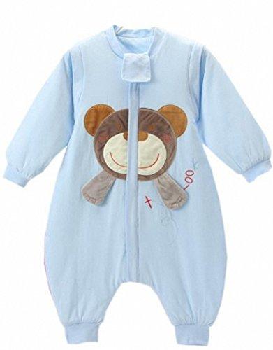Baby Schläfsack winter mit Füßen kinder schlafanzug Baumwollen Junge Mädchen Lange Ärmel pyjama/overall/Strampler.Schneeanzüge.Bär. (M:85-95cm( 2-3 jährige), blau)