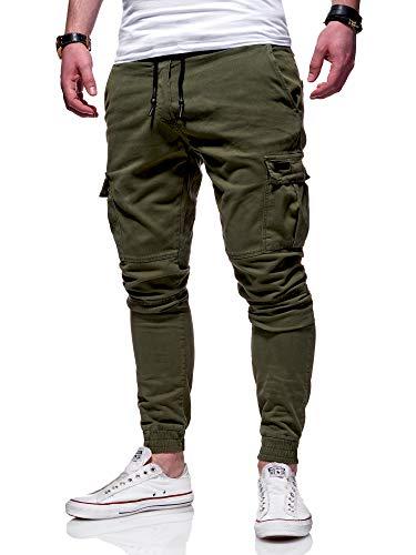 behype. Herren Cargo Chino-Hose Jogger Jeans-Hose 80-8393 Khaki W32
