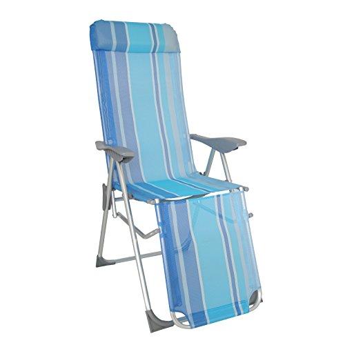greemotion 436408 Fauteuil Relax Texel Alu/Textilène, Env. 81 x 62 x 118 cm Bleu/argenté