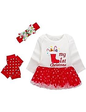 Baby Mädchen Weihnachten Bekleidungsset, Baywell Outfit Kleid mit Kopfband und Beinwärmer