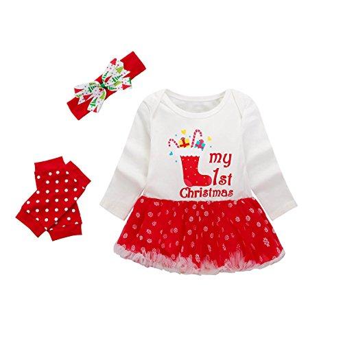 Baywell Baby Mädchen Weihnachten Bekleidungsset, Outfit Kleid mit Kopfband und Beinwärmer (L/90/18-24 Monate, Mein erstes Weihnachten)