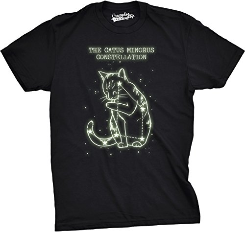 Crazy Dog Tshirts Youth The Catus Minorus Constellation Glow in The Dark T Shirt Funny Cats Tee (Black) L - Jungen - L (Youth-t-shirt Glow)