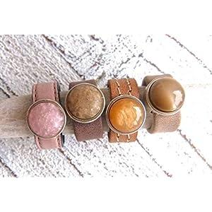 Lederring mit Zamak Element Perle rosa dunkelbraun cognac oder hellbraun, Geschenk