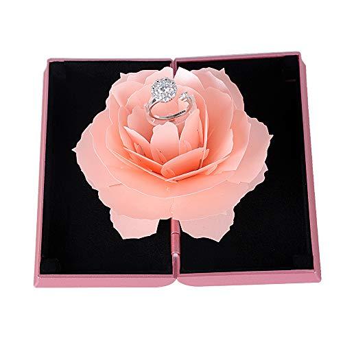 Buondac scatola porta anello 3d rosa espositore portagioie anelli scatolina fidanzamento san valentino matrimonio regalo ring box