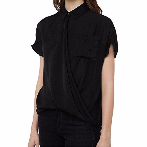 Sommerfrauen Schwarze Kurze aermeltasche Quer Schraege Knopfleiste Shirt T Shirt Tops Schwarz