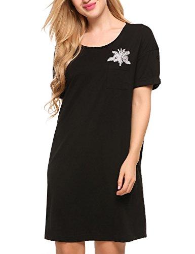 Print-schlafanzug (Ekouaer Damen Nachthemd Casual mit O-Ausschnitt Kurzarm Schlafanzug Print Pocket Mini Nachtwäsche Kleid)