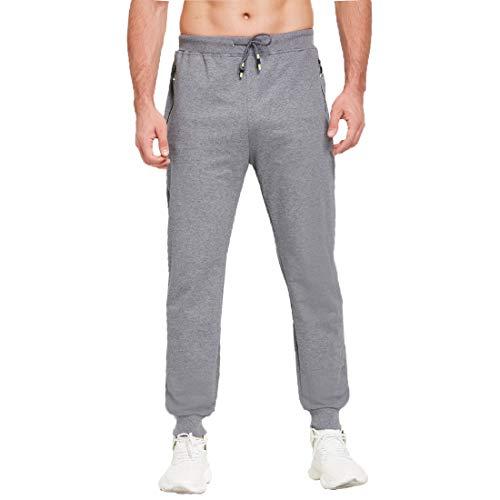 Tansozer Herren Jogginghose Sporthose Baumwolle Freizeithose lang mit reißverschluss Taschen(Grau XL)