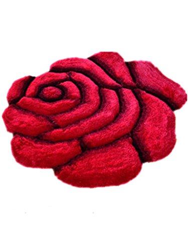 Kitzen 3D Han SI Wohnzimmer Hochzeit Einfarbig Rosen Geformt Teppich Bedside Matten Bay-Fenster Teppich, Rose, 120 * 120cm