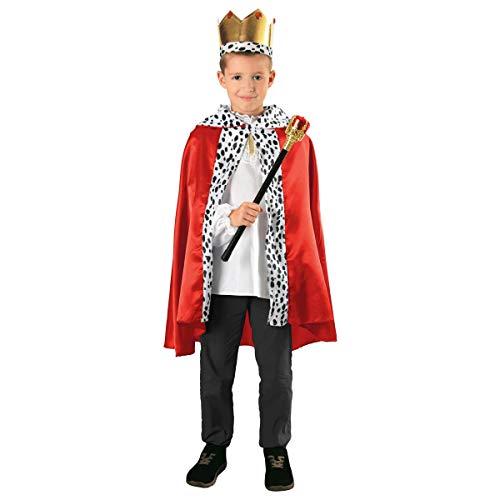 Partyklar König Umhang 3teilig (Kind's Royal Prinz Kostüm)