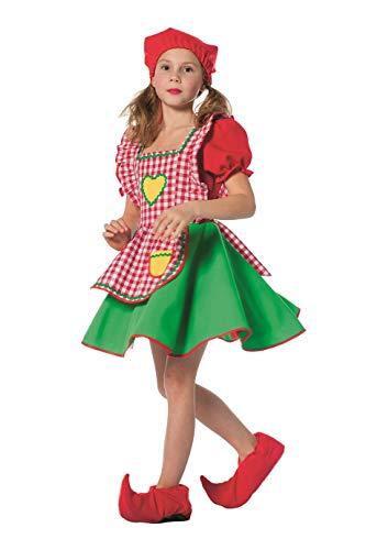 The Fantasy Tailors Zwergen-Kostüm Mädchen Kleid und Zipfelmütze Gartenzwerg Fantasy Märchen Karneval Fasching Theater Hochwertige Verkleidung Fastnacht Größe 152 Rot/Grün