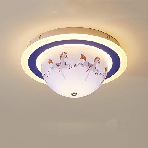 Kinderzimmer Schmiedeeisen LED drehbare Deckenleuchte, rosa/blau Acryl Lampenschirm moderne kreative Cartoon Kronleuchter junge Mädchen Schlafzimmer Studie Leuchte-blue -