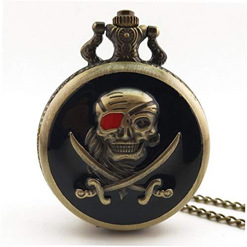 Piraten Vintage antike runde Vorwahlknopf-Quarz-Taschen-Uhr-Halskette hängende Taktgeber