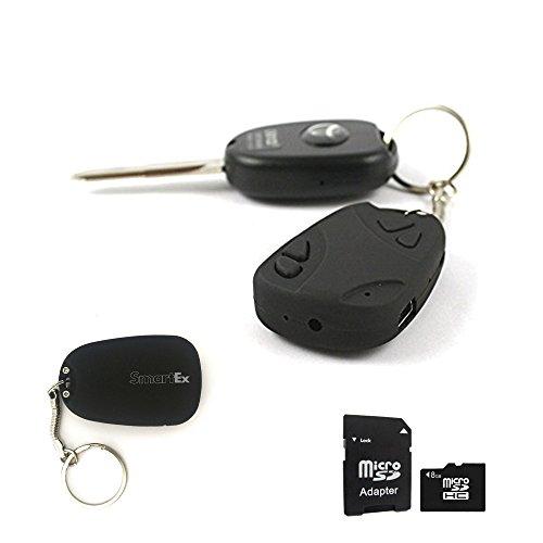 SMARTEX | Schlüsselanhänger mit unsichtbarer Spion Kamera + Micro SD 8GB- SpyCam versteckte Kamera im Autoschlüssel- Camcorder Spion Mini Kamera Audio Video