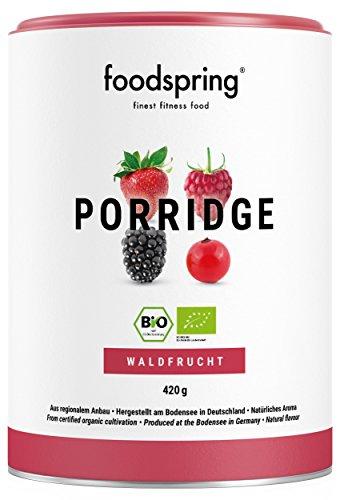 Mit Samen Chia Haferflocken (foodspring Bio Protein Porridge, Waldbeere, 420g, Frühstücksbrei, Hergestellt in Deutschland mit Bio Zutaten vom Bodensee)