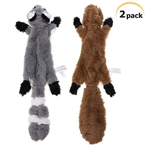 PDTO 2 Pack Hund Quietschende Plüsch Spielzeug Keine Füllung Hund Spielzeug Waschbär Eichhörnchen Hundespielzeug Set für Kleine Medium Hund