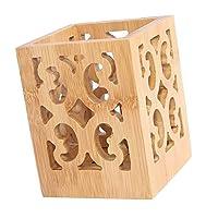 joyMerit Pottery Handmade Kitchen Utensil Holder Hamada and Persimmon, Utensil Crock Organizer - Square hollowing