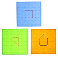BIYI Plastic Nail Plate Primary Mathematics Nailboard Puzzle Game Tool Geometry Learning Educational Toy for Children (green) ()