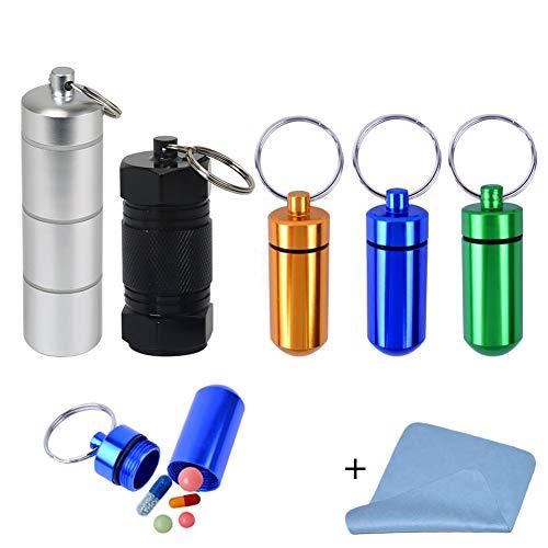 EQLEF Pillendose Schlüsselanhänger, Wasserdichte Aluminium Pille Container Pille Flaschenhalter zum Speichern von Kapseln Pillen für Outdoor Survival Kits - 5 Stck - Survival Kit Case