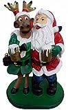 Lebensgroße Figuren Shop Rudolph und Santa - Weihnachtsfiguren - Nikolausfiguren - Weihnachtsmann mit Rentier -WN038