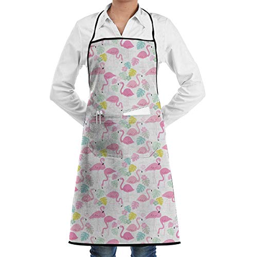 hürze,Flamingo Beautful Printed Adjustable Bib Apron with Pocket Kitchen Chef Aprons for Unisex ()
