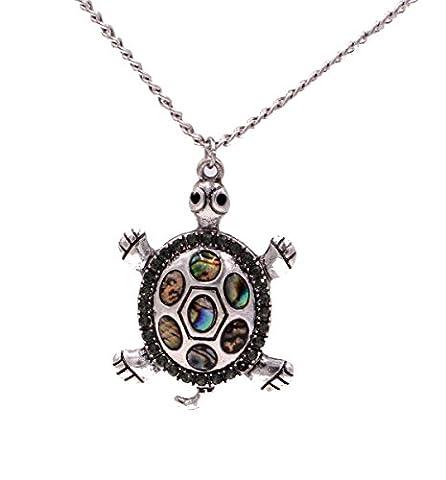 Sea Abalone Paua Shell Turtle Necklace in Antique Silver Tone (In Organza Bag)