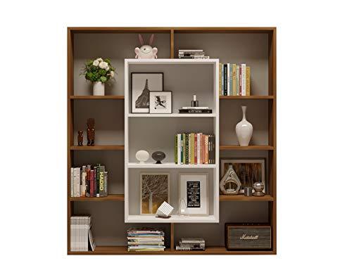 Homidea Venus Bücherregal - Standregal - Büroregal - Raumtieler für Wohnzimmer/Büro in modernem Design (Nussbaum/Weiß)