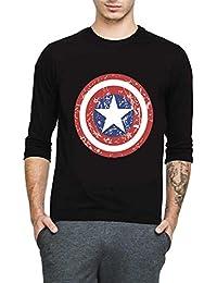 Veirdo Printed Full Sleeve Black Round Neck Men's Cotton Tshirt- Captian America Sheild