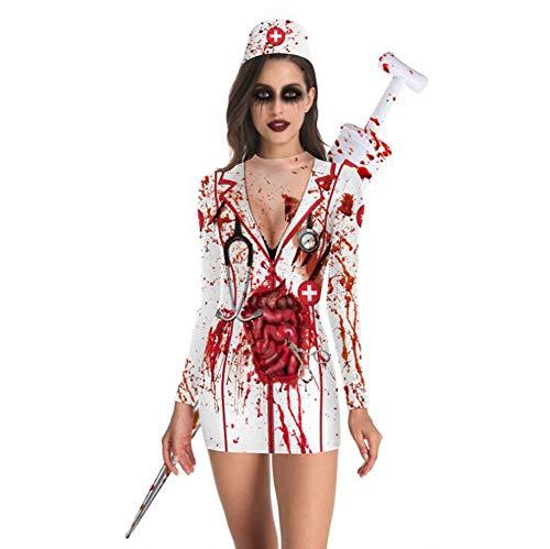 Passende Kostüm Drei - Erwachsenes Cosplay-Kostüm Halloweens, psychedelisches Zombiedruckkleid des Halloween-Kostüms 3D Passend für Halloween/Partei/Rollenspiele,3,L