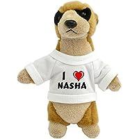 Suricata personalizada de peluche (juguete) con Amo Nasha en la camiseta (nombre de