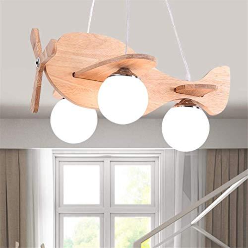 GD1 Plafonnier Nordic Simple pour Enfant Lampe Fille Princesse Avion Lumière Bande Dessinée Garçon Chambre de Bébé Créatif en Bois Massif Chambre Lustre