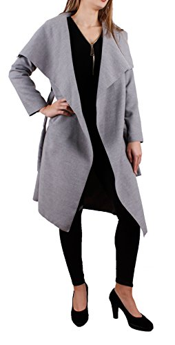 Italien Damen Mantel Trenchcoat mit Gürtel One Size (M) lang (hellgrau)