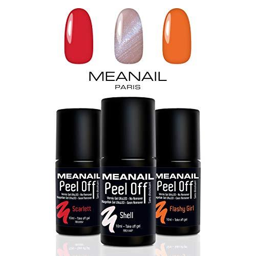 UV Nagellack Shellac Set Meanail Paris PEEL OFF® • UV Gel Set Soak Off Gellack Set • Vegan&Cruelty free (Nail Bliss Pro)