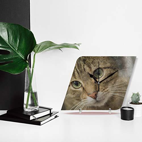 Tiergroße Katzenkopf mit schönen grünen Augen tickt nicht stumm Diamant große Anzeige Digital Batterie Wanduhren Schreibtisch Malerei Dial für Küche Kinder Schlafzimmer Home Office Dekor dekorative