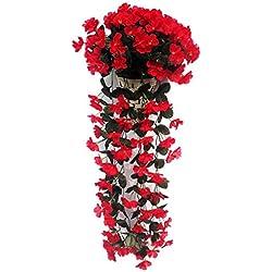 3CLifewaren Vigne Artificielle Suspendue Réaliste Décoration de Mariage, Plante Artificiel Romantique Fleur décoratif Ornement de Fênetre Mur Faux Feuille Simulation
