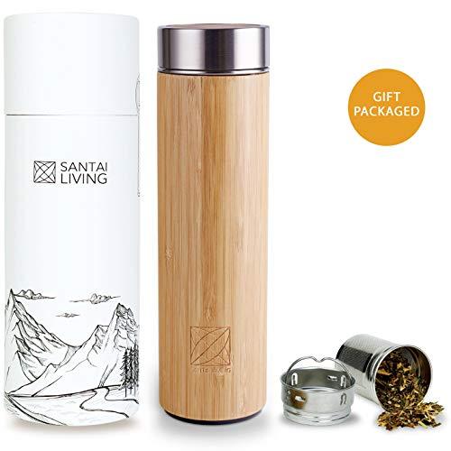 Santai Living Bambus Thermobecher Tee & Kaffe Infuser | 500ML Vakuum Isolierte Doppelwandig Edelstahl Thermoflasche mit teesieb Trinkflasche Teebereiter Reisebecher