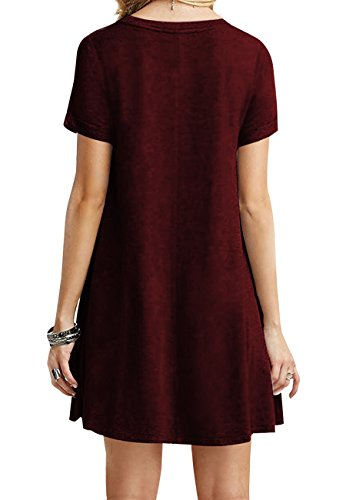 OMZIN Frauen Kurzarm Lose beiläufige T-Shirt Tops Kleid Plus Größe XS-4XL US 4-18 Weinrot