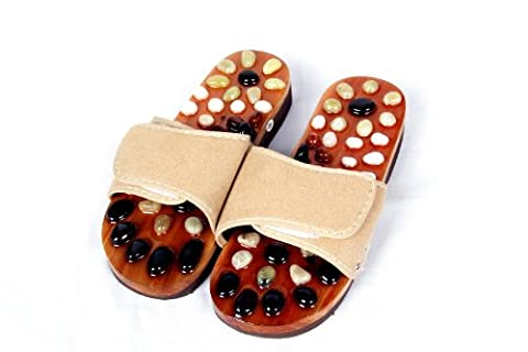 HealthPanion 1 Pair of Reflexology Natural Stone Massage Slippers- Promote blood circulation and improve metabolism
