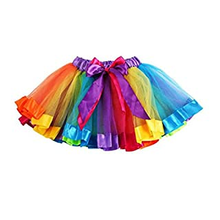 Amlaiworld Girls Kids Petticoat Rainbow Pettiskirt Bowknot Skirt Tutu Dress Dancewear (M, Multicolor)