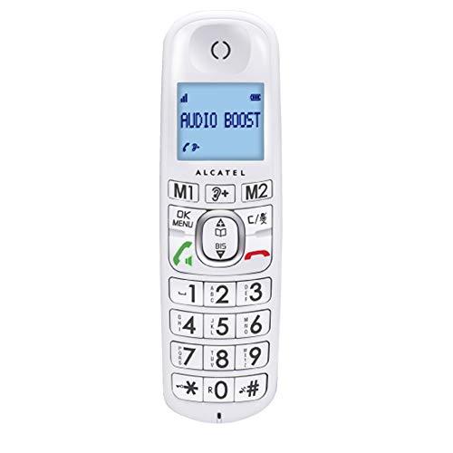 Alcatel XL385 Voice Duo - Téléphone sans fil ergonomique, Répondeur intégré, Design ergonomique, Mains libres, Grand écran, 2 mémoires directes, Amplification audio - Blanc