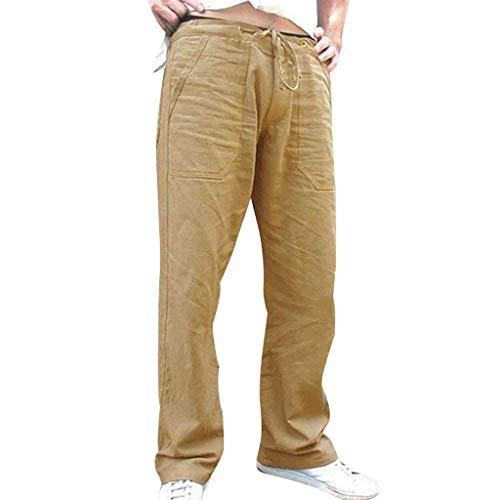 Gusspower Largos Pantalones Casuales Lino Hombre Bolsillos