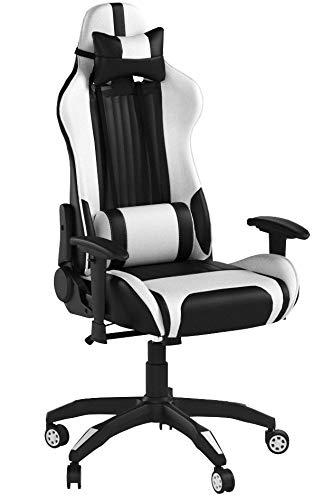 Racing Hochwertiger Bürostuhl Gaming Stuhl, Ergonomischer höhenverstellbar Schreibtischstuhl Chefsessel Computerstuhl Drehstuhl mit einstellbaren Armlehnen, Kunstleder Sportsitz Game Chair (Weiß)