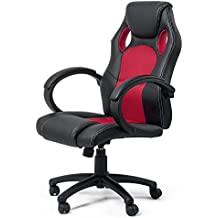 Silla de Oficina Silla de Escritorio Gaming Racing giratorio Recubrimiento de PU Reposabrazos Asiento ajustable diseño Rojo de MY