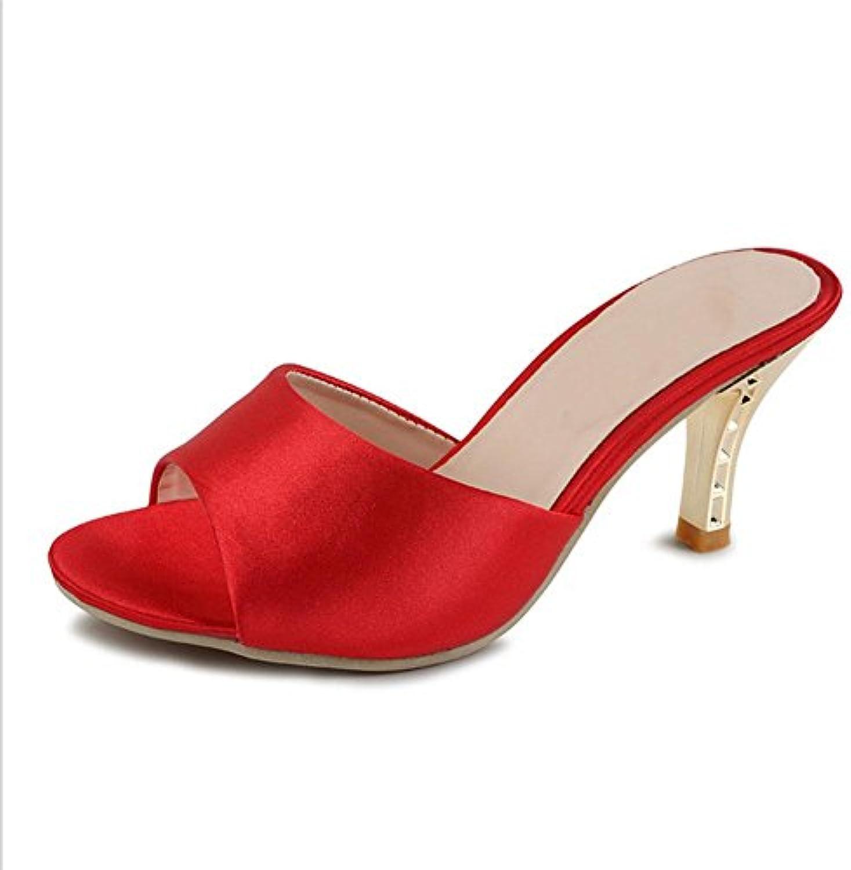 zapatos casuales sandalias abiertas estilo de tacón alto la palabra de la mujer salvaje finas cabeza de pescado...