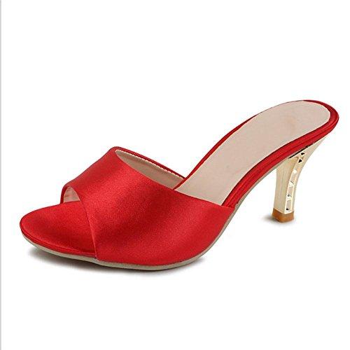 Frauen mit hohen Absätzen offene Sandalen Wort Stil Freizeitschuhe wilden Fischkopf fein mit Sandalen Red