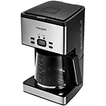 Homgeek CM6626T - Cafetera de goteo con temporizador, 1.8 litros (12 a 15 tazas),color negro y plata