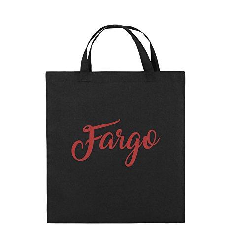 Comedy Bags - FARGO - LOGO - Jutebeutel - kurze Henkel - 38x42cm - Farbe: Schwarz / Silber Schwarz / Rot