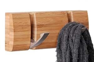 wandgarderobe bambus mit haken zum einklappen flurgarderobe kleiderstange kleiderhaken. Black Bedroom Furniture Sets. Home Design Ideas