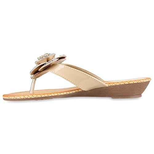 Damen Sandalen Strass Zehentrenner Beach Schuhe Creme Blume Steinchen