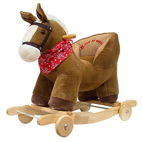 Schaukelpferd LINGZHIGAN Pferd Holz mit Musik Dual-Use-Baby Schaukel Wiege Schaukelstuhl Baby Alter Massivholz Geschenk (Farbe : There Are Wheels)